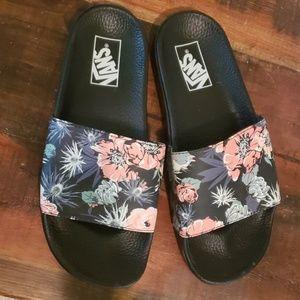 vans floral slides
